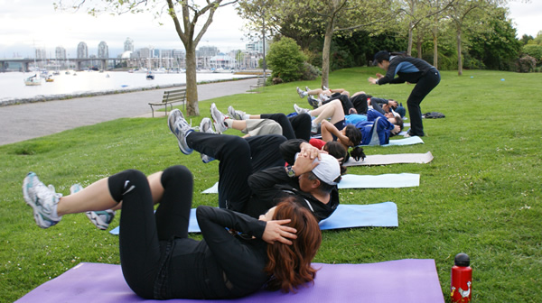 boot camp sit ups and crunch drills
