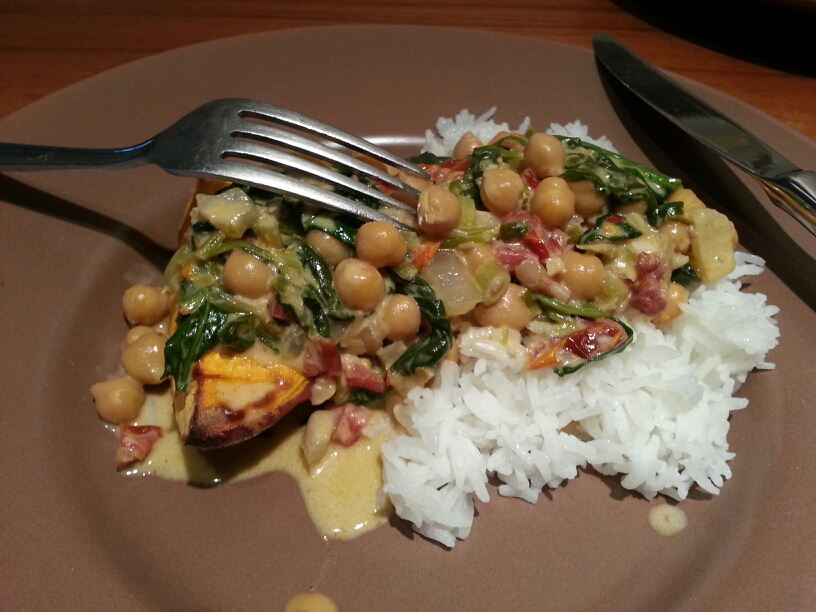 Coconut, kale, chickpea curry, recipe, nutrition, healthy